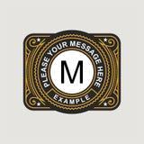 Nowożytny emblemat, odznaka, monograma szablon Luksusowa elegancka ramowa ornament linii loga projekta wektoru ilustracja Dobry d royalty ilustracja