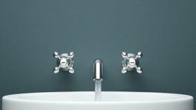 Nowożytny faucet na zieleni ścianie fotografia royalty free