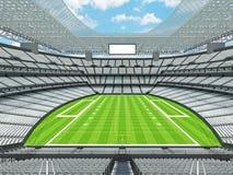 Nowożytny futbolu amerykańskiego stadium z białymi siedzeniami Zdjęcia Stock