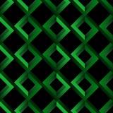 Nowożytny geometryczny bezszwowy złudzenie wzór jaskrawi rhombuses na czarnym tle - zieleni niemożliwi kształty - Zdjęcia Stock