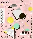 Nowożytny geometryczny Memphis tło Retro stylowa tekstura dla karty, plakata, etc, również zwrócić corel ilustracji wektora ilustracji