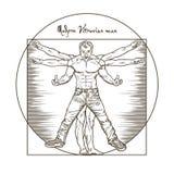Nowożytny gniewny Vitruvian mansolated na białym tle ilustracji