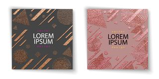 Nowożytny i elegancki minimalny projekt Miedziany glansowany tło struktura metalicznej Brązowa metal tekstura Różany kwarc wzór ilustracji