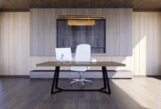 Nowożytny i minimalny wnętrze szefa biuro Zdjęcia Stock