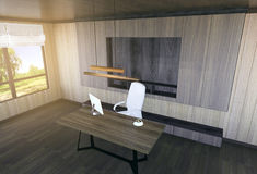 Nowożytny i minimalny wnętrze szefa biuro Obraz Royalty Free