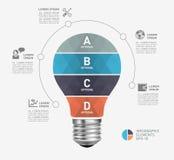 Nowożytny infographic szablon z żarówki ikony projektem Zdjęcia Stock