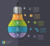 Nowożytny infographic szablon z żarówki ikony projektem Obrazy Stock