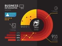 Nowożytny infographic sztandaru okrąg geometryczny z kreskowymi ikonami, Zdjęcia Stock