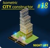 Nowożytny isometric budynek w nocy świetle Obraz Royalty Free