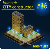 Nowożytny isometric budynek w nocy świetle Zdjęcia Royalty Free