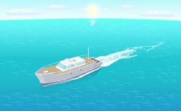 Nowożytny jachtu żeglowanie w Głębokich błękitnych wodach Wektorowych ilustracji