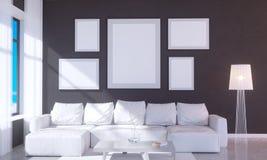 Nowożytny jaskrawy wnętrze z pustą ramą 3D odpłaca się 3D ilustracyjny pokój, scandinavian, kanapa, przestrzeń, w górę, ściana, b Ilustracji