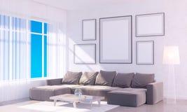 Nowożytny jaskrawy wnętrze z pustą ramą 3D odpłaca się 3D ilustracyjny pokój, scandinavian, kanapa, przestrzeń, w górę, ściana, b Royalty Ilustracja