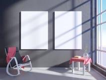 Nowożytny jaskrawy wnętrze z pustą ramą 3D odpłaca się 3D ilustracyjny pokój, scandinavian, kanapa, przestrzeń, w górę, ściana, b Zdjęcie Royalty Free