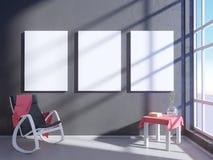 Nowożytny jaskrawy wnętrze z pustą ramą 3D odpłaca się 3D ilustracyjny pokój, scandinavian, kanapa, przestrzeń, w górę, ściana, b Fotografia Royalty Free
