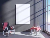 Nowożytny jaskrawy wnętrze z pustą ramą 3D odpłaca się 3D ilustracyjny pokój, scandinavian, kanapa, przestrzeń, w górę, ściana, b Obrazy Stock