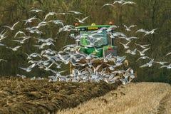 Nowożytny John Deere ciągnik ciągnie lemiesz podążał frajerami obrazy stock