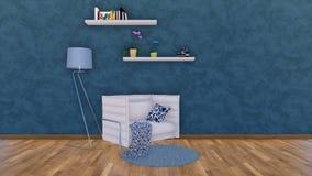 Nowożytny karło w ciemnym minimalistic wnętrzu 3D ilustracji