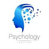 Nowożytny kierowniczy logo psychologia Profilowa istota ludzka Kreatywnie styl ilustracji