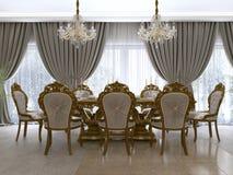 Nowożytny klasyk łomota stół w luksusowym barokowym żywym pokoju z porcją royalty ilustracja