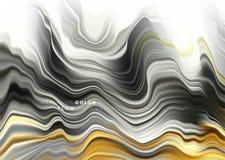 Nowożytny kolorowy spływowy plakat Falowy Ciekły kształt w czarnym koloru tle Sztuka projekt dla twój projekta projekta wektor ilustracji
