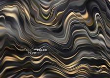 Nowożytny kolorowy spływowy plakat Falowy Ciekły kształt w czarnym koloru tle Sztuka projekt dla twój projekta projekta wektor ilustracja wektor