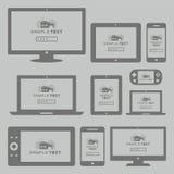 Nowożytny komputer i urządzenia przenośne ustawiający Zdjęcie Stock