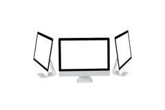 Nowożytny komputer odizolowywa z ścinek maską na białym tle dla mockup projekta, 3D rendering Zdjęcia Stock