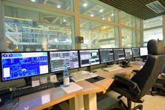Nowożytny kontrolny centre z ekranami dla monitorować i działać obrazy royalty free