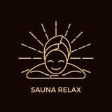 Nowożytny Kreskowego stylu Sauna logotypu szablon royalty ilustracja
