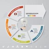 Nowożytny 4 kroka z strzałkowatym infographic elementem z setem ikony dla prezentaci royalty ilustracja