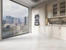 Nowożytny kuchenny meblarski beż w kuchni z wielkim okno od podłogi stropować ilustracja wektor