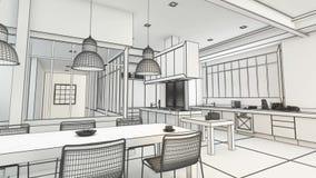 Nowożytny kuchenny projekta wireframe w czarny i biały zbiory