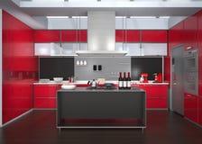 Nowożytny kuchenny wnętrze z mądrze urządzeniami w czerwonego koloru koordynaci ilustracja wektor