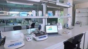 Nowożytny laborancki wnętrze Pusty laborancki pokój Lab wnętrze Pusty lab pokój zdjęcie wideo