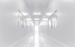 Nowożytny laboratorium naukowe pokój otwierał drzwi z oświetleniem od outside Zdjęcie Stock