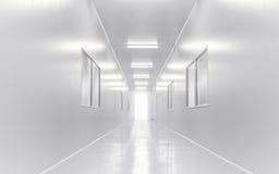Nowożytny laboratorium naukowe pokój otwierał drzwi z oświetleniem od outside Fotografia Stock
