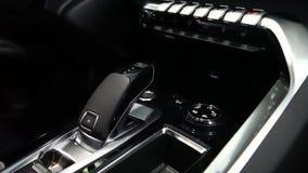 Nowożytny luksusowy samochodowy czarny wewnętrzny kabinowy salon Inside samochód wyszczególnia zbliżenie zbiory
