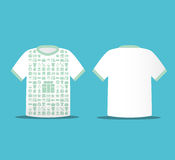 Nowożytny miękki kolor koszulki projekt z ikon robić zakupy ilustracja wektor