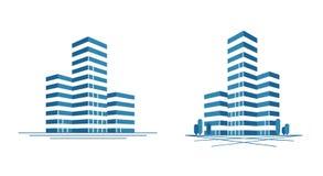 Nowożytny miasto, drapacza chmur logo Budowa, budujący ikonę lub etykietkę również zwrócić corel ilustracji wektora Zdjęcia Stock