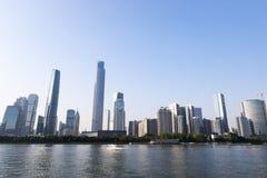 Nowożytny miasto w Guangzhou specjalny biznesowy teren wzdłuż perełkowej rzeki Obraz Royalty Free