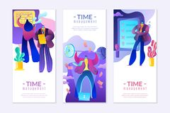 Nowożytny mieszkania zarządzanie, zarządzanie finansami i biznes na czas, w jaskrawych, modnych kolorach, ilustracji