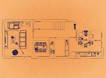 Nowożytny mieszkanie projekt - Retro architekta projekt zdjęcie royalty free