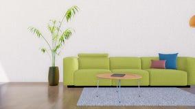 Nowożytny minimalistyczny żywy izbowy wnętrze 3D ilustracji