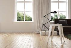 Nowożytny minimalistyczny żywy pokój z twarde drzewo podłoga Obraz Royalty Free
