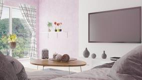Nowożytny minimalny żywy pokój z pięknego widoku 3D ilustracją royalty ilustracja