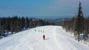 Nowożytny ośrodek narciarski w sosnowym lasowym aeria, przegląda z góry footage Młody grupa ludzi narciarstwa i jazdy na snowboar zbiory