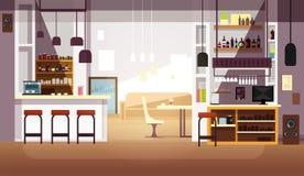 Nowożytny opróżnia baru lub sklep z kawą wektorowego płaskiego wnętrze Fotografia Royalty Free