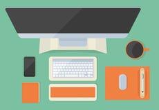 Nowożytny płaski biurowy desktop Fotografia Stock