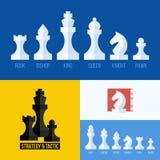Nowożytny płaski wektorowy ustawiający szachowe ikony kawałki szachowi Zdjęcia Royalty Free